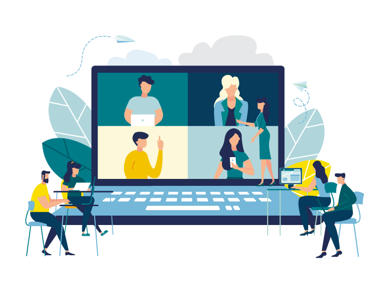 Webinar illustration with figures and laptop