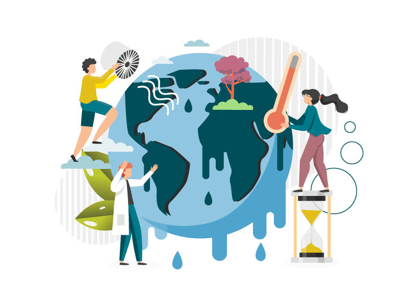 Illustration of melting earth with figures trying to stop it