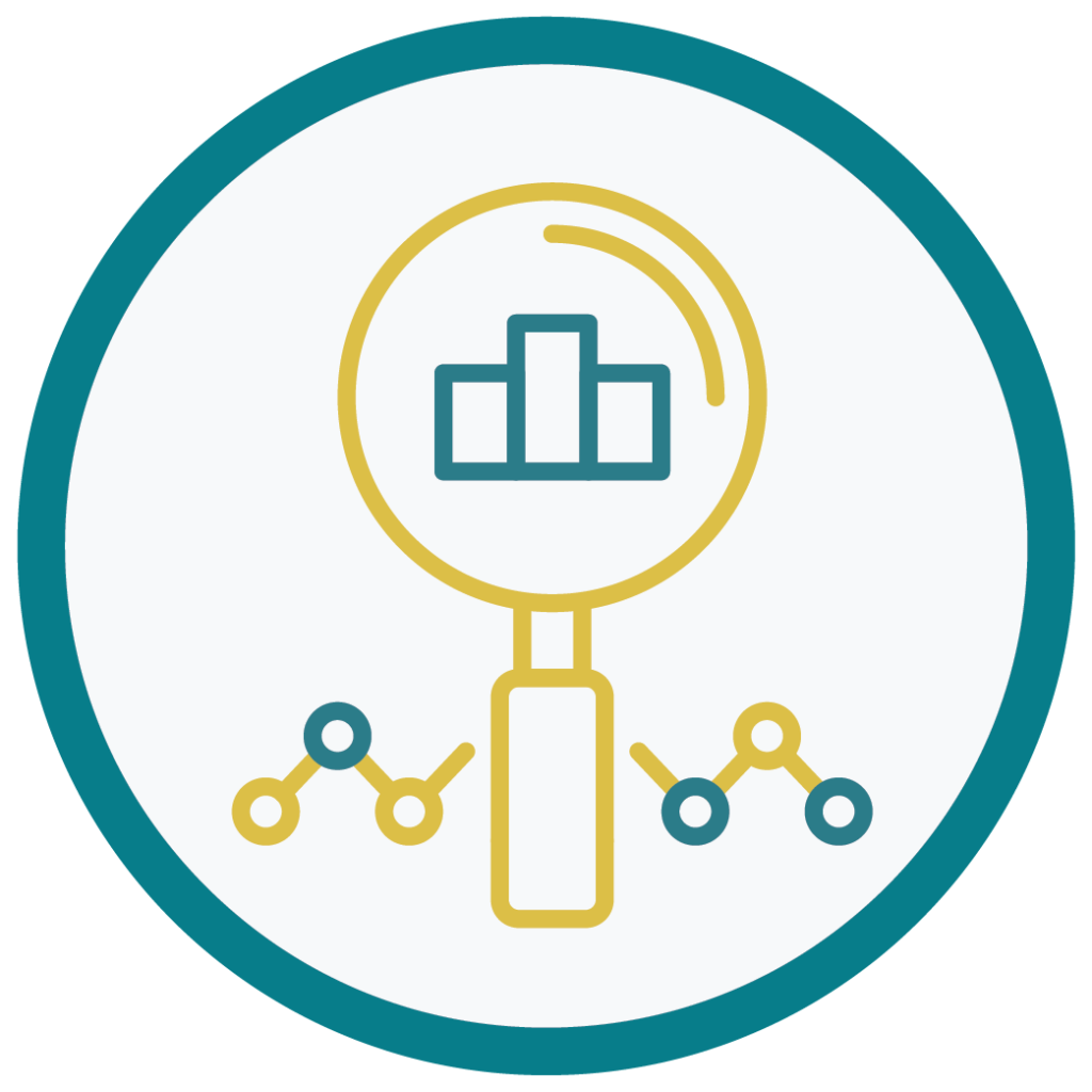 Research grants tracker magnifying glass icon