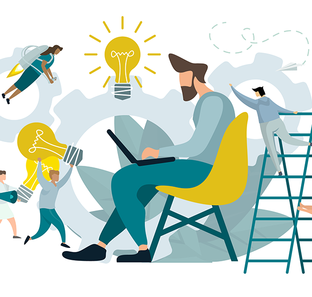Illustration showing team members working together to solve problems